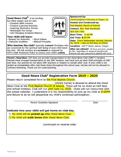 good news club registration form